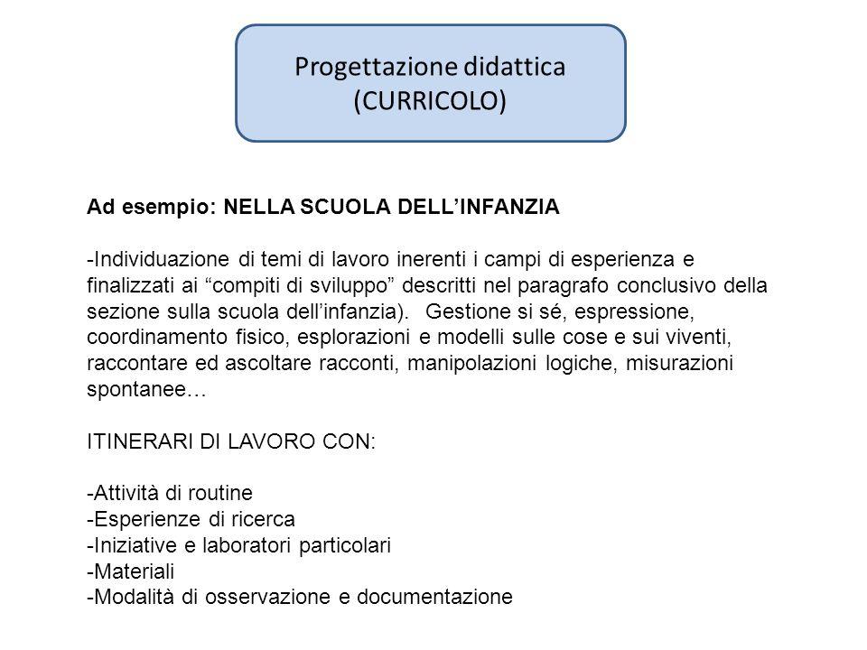 Progettazione didattica (CURRICOLO) Ad esempio: NELLA SCUOLA DELLINFANZIA -Individuazione di temi di lavoro inerenti i campi di esperienza e finalizza