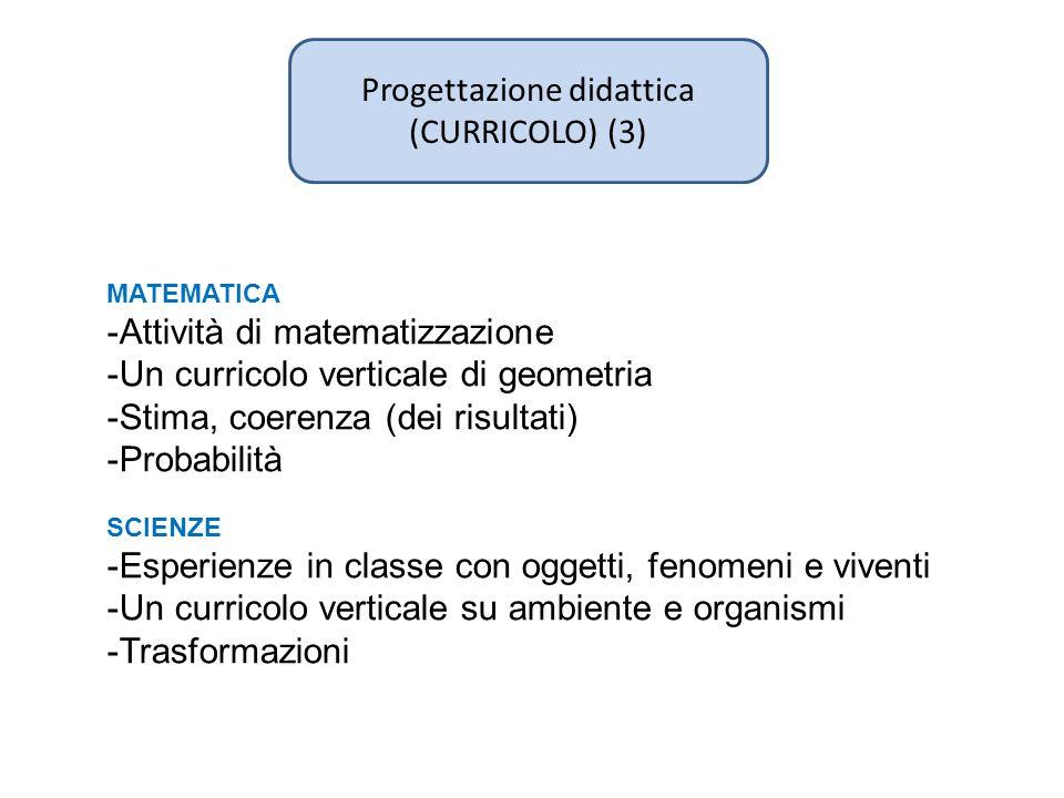 Progettazione didattica (CURRICOLO) (3) MATEMATICA -Attività di matematizzazione -Un curricolo verticale di geometria -Stima, coerenza (dei risultati)
