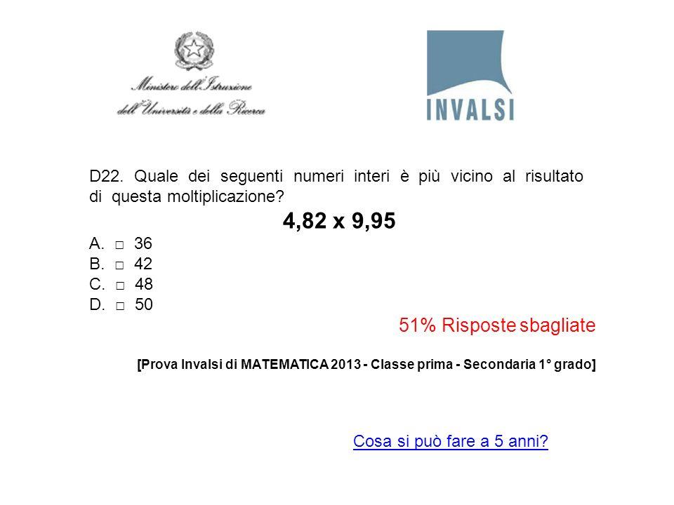 D22. Quale dei seguenti numeri interi è più vicino al risultato di questa moltiplicazione? 4,82 x 9,95 A. 36 B. 42 C. 48 D. 50 51% Risposte sbagliate