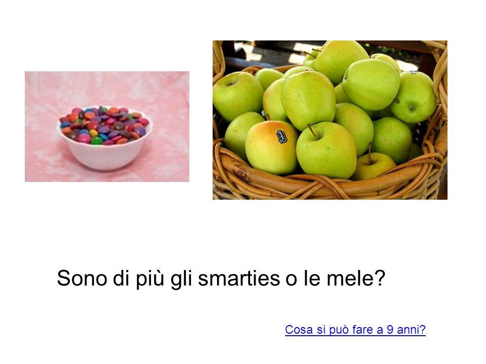 Sono di più gli smarties o le mele? Cosa si può fare a 9 anni?