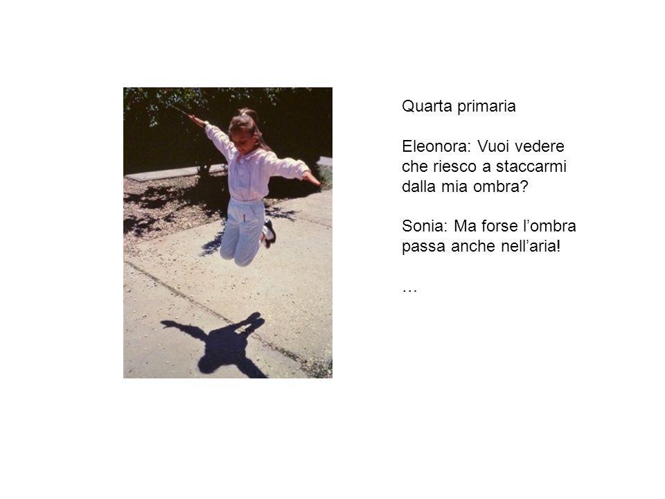 Quarta primaria Eleonora: Vuoi vedere che riesco a staccarmi dalla mia ombra? Sonia: Ma forse lombra passa anche nellaria! …