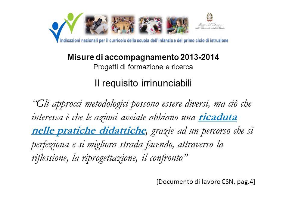 Misure di accompagnamento 2013-2014 Progetti di formazione e ricerca Il requisito irrinunciabili Gli approcci metodologici possono essere diversi, ma