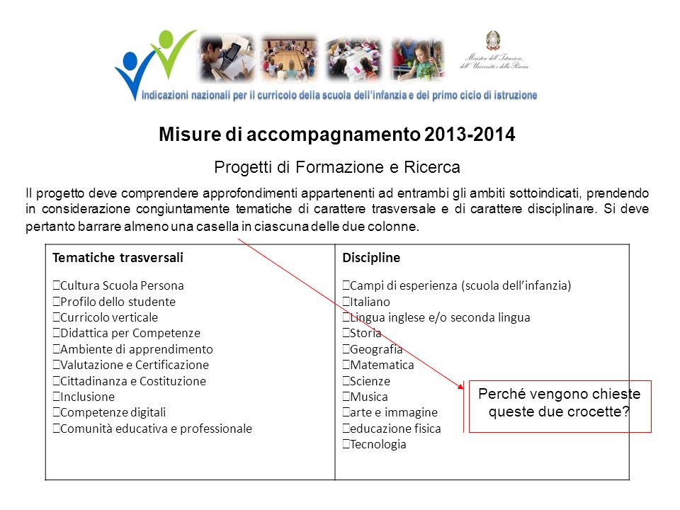 Misure di accompagnamento 2013-2014 Progetti di Formazione e Ricerca Il progetto deve comprendere approfondimenti appartenenti ad entrambi gli ambiti