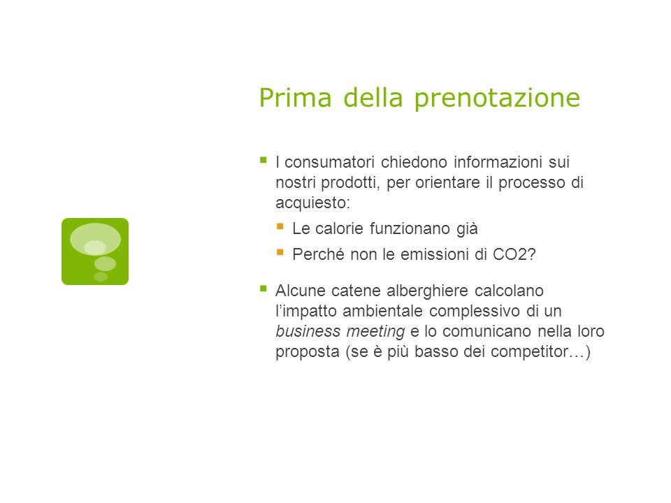 Prima della prenotazione I consumatori chiedono informazioni sui nostri prodotti, per orientare il processo di acquiesto: Le calorie funzionano già Perché non le emissioni di CO2.