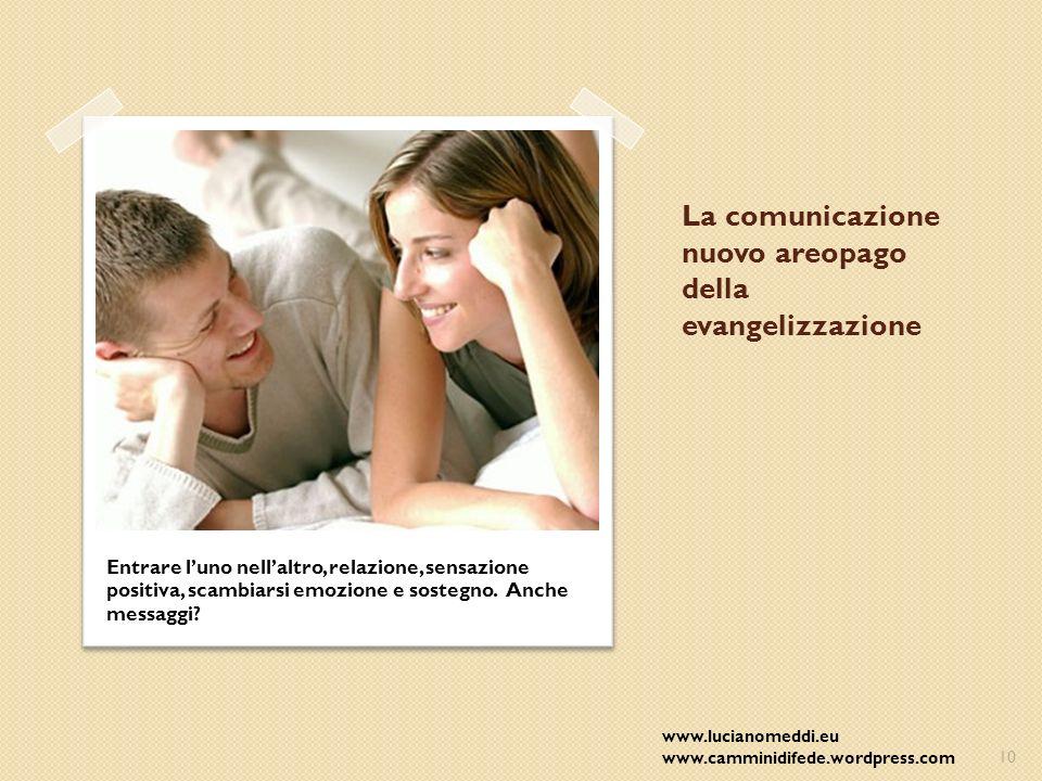 La comunicazione nuovo areopago della evangelizzazione Entrare luno nellaltro, relazione, sensazione positiva, scambiarsi emozione e sostegno.