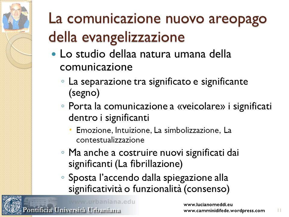 La comunicazione nuovo areopago della evangelizzazione Lo studio dellaa natura umana della comunicazione La separazione tra significato e significante