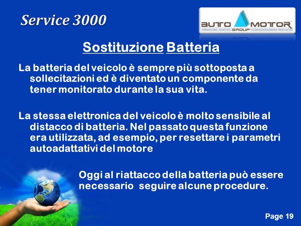 Free Powerpoint Templates Page 19 Sostituzione Batteria La batteria del veicolo è sempre più sottoposta a sollecitazioni ed è diventato un componente