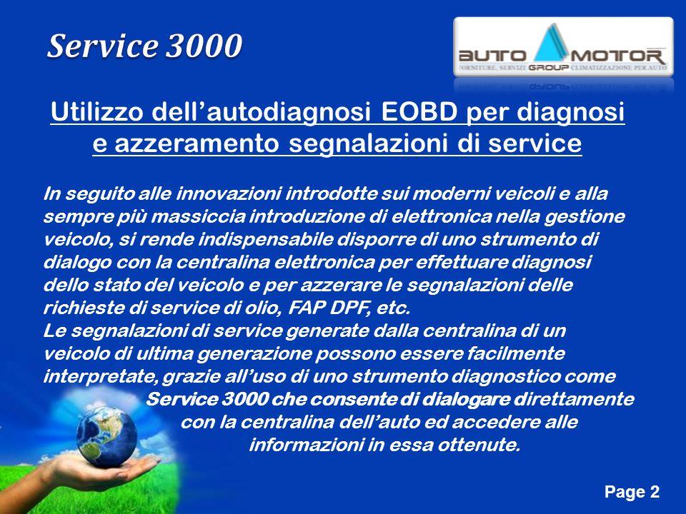 Free Powerpoint Templates Page 2 Utilizzo dellautodiagnosi EOBD per diagnosi e azzeramento segnalazioni di service In seguito alle innovazioni introdo