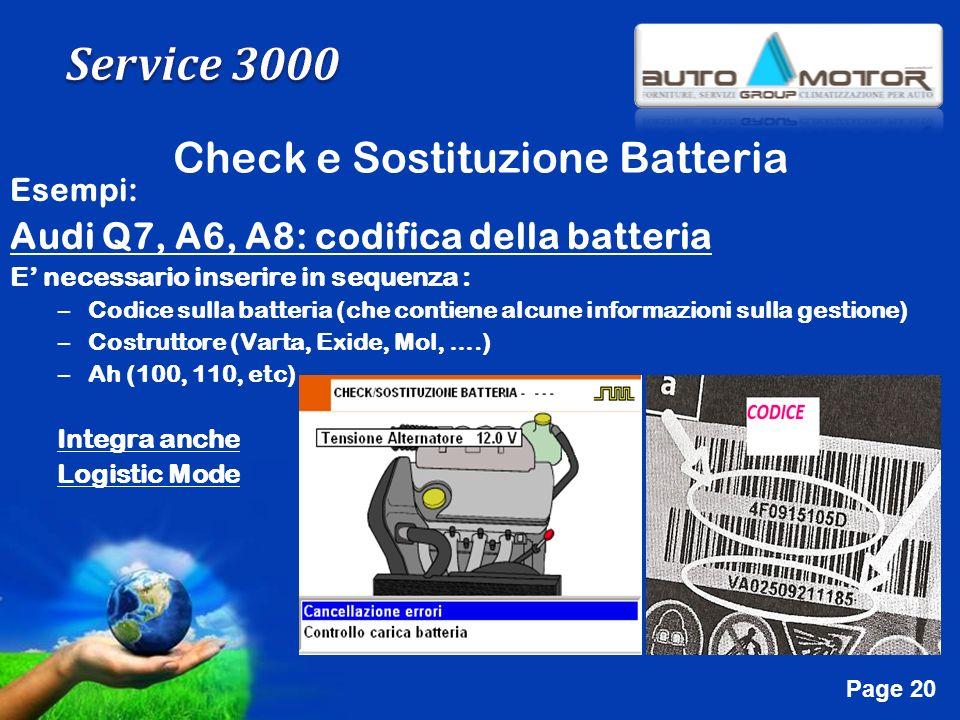 Free Powerpoint Templates Page 20 Check e Sostituzione Batteria Esempi: Audi Q7, A6, A8: codifica della batteria E necessario inserire in sequenza : –