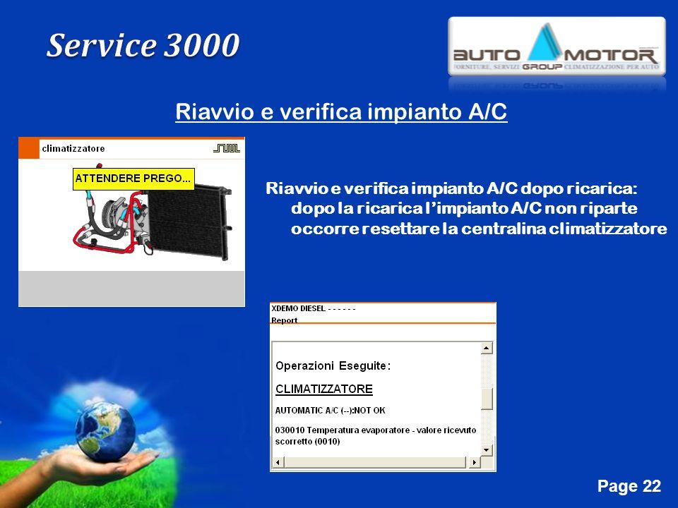 Free Powerpoint Templates Page 22 Riavvio e verifica impianto A/C Riavvio e verifica impianto A/C dopo ricarica: dopo la ricarica limpianto A/C non ri