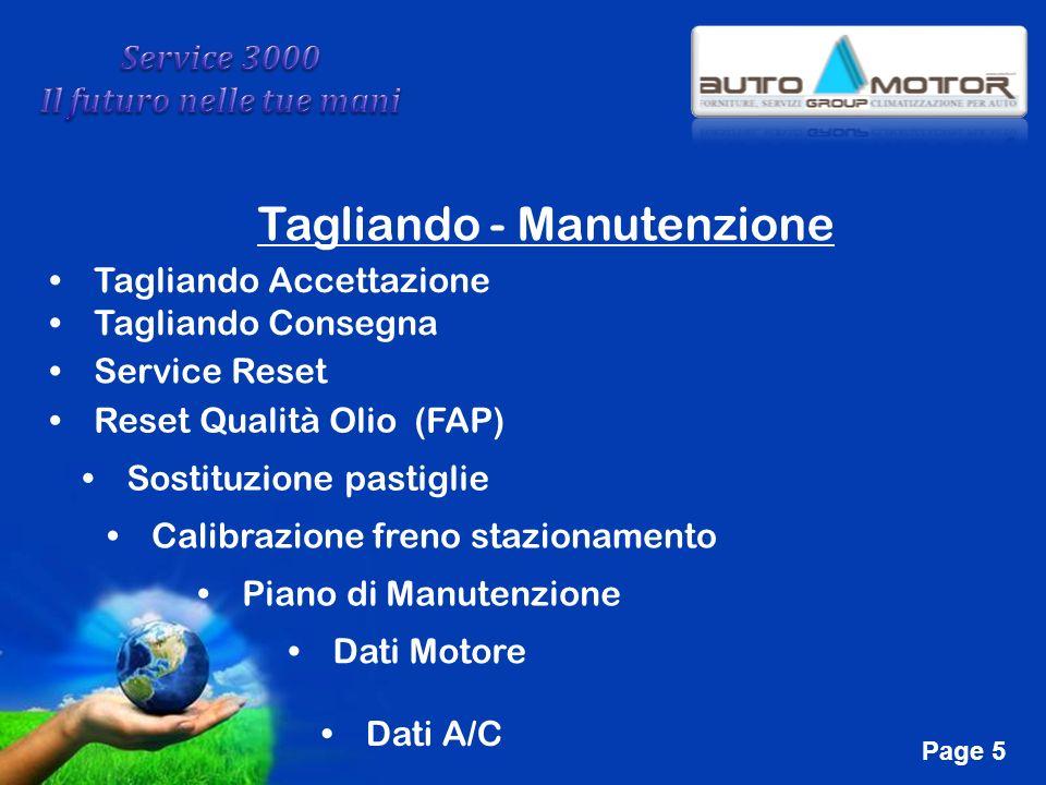 Free Powerpoint Templates Page 5 Tagliando - Manutenzione Tagliando Accettazione Tagliando Consegna Service Reset Reset Qualità Olio (FAP) Sostituzion