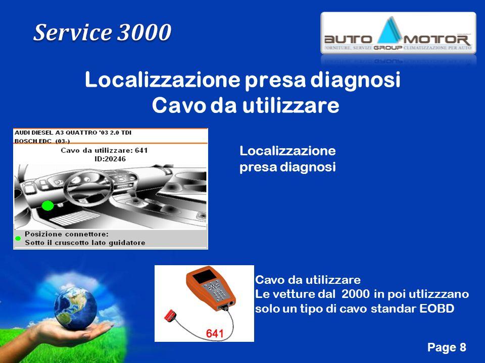 Free Powerpoint Templates Page 8 Localizzazione presa diagnosi Cavo da utilizzare Localizzazione presa diagnosi Cavo da utilizzare Le vetture dal 2000