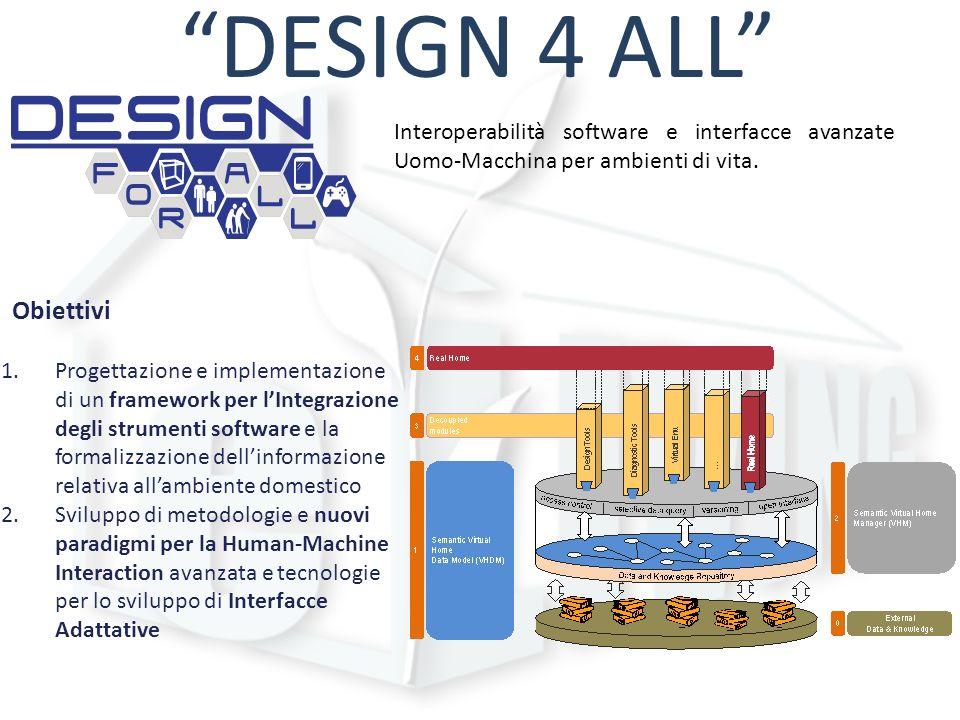 DESIGN 4 ALL Interoperabilità software e interfacce avanzate Uomo-Macchina per ambienti di vita. Obiettivi 1.Progettazione e implementazione di un fra