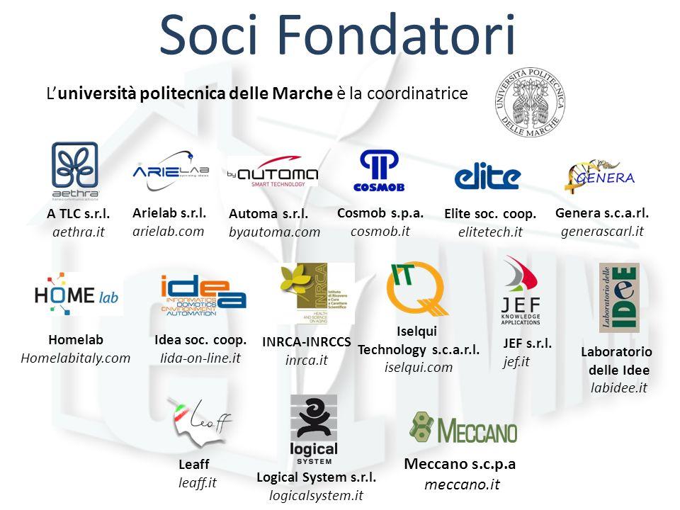 Soci Fondatori Luniversità politecnica delle Marche è la coordinatrice A TLC s.r.l. aethra.it Arielab s.r.l. arielab.com Automa s.r.l. byautoma.com Co