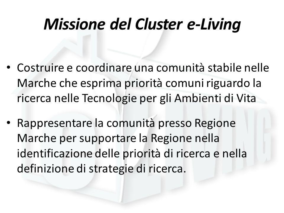 Missione del Cluster e-Living Costruire e coordinare una comunità stabile nelle Marche che esprima priorità comuni riguardo la ricerca nelle Tecnologi