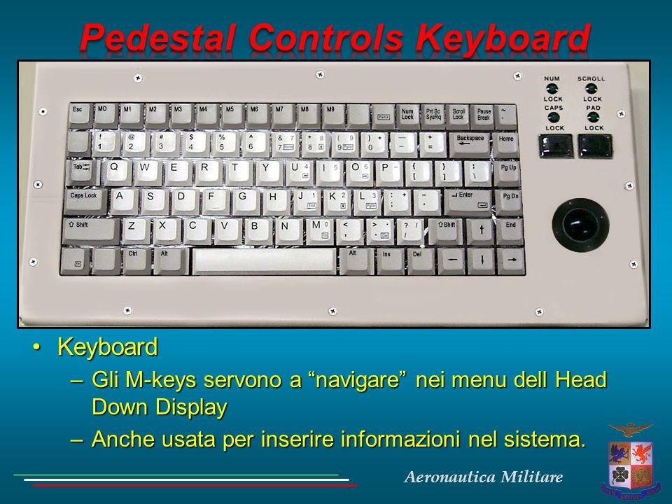 Aeronautica Militare KeyboardKeyboard –Gli M-keys servono a navigare nei menu dell Head Down Display –Anche usata per inserire informazioni nel sistem