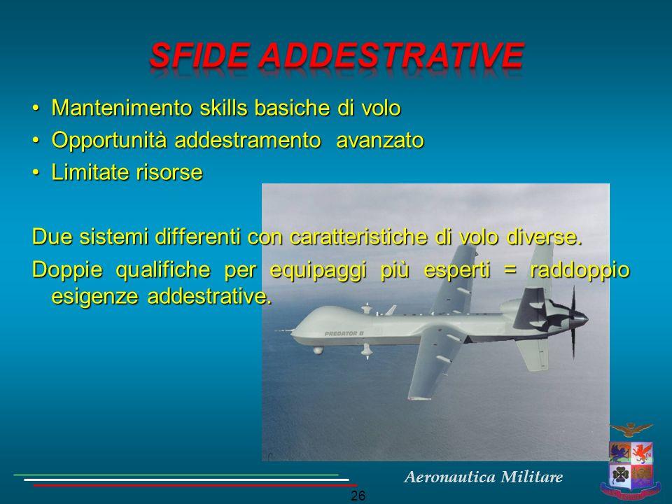 Aeronautica Militare 26 Mantenimento skills basiche di voloMantenimento skills basiche di volo Opportunità addestramento avanzatoOpportunità addestram
