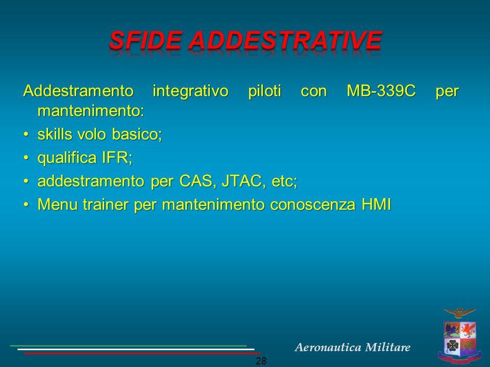 Aeronautica Militare 28 Addestramento integrativo piloti con MB-339C per mantenimento: skills volo basico;skills volo basico; qualifica IFR;qualifica