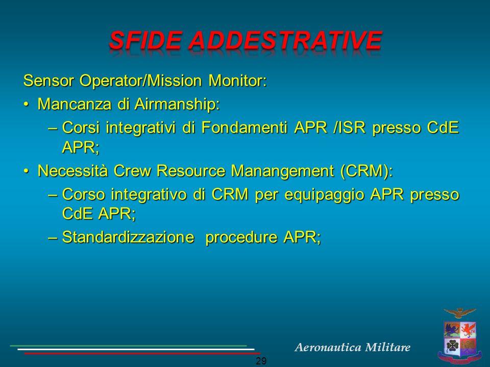 Aeronautica Militare 29 Sensor Operator/Mission Monitor: Mancanza di Airmanship:Mancanza di Airmanship: –Corsi integrativi di Fondamenti APR /ISR pres