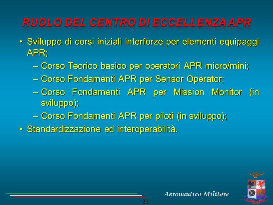 Aeronautica Militare 33 Sviluppo di corsi iniziali interforze per elementi equipaggi APR;Sviluppo di corsi iniziali interforze per elementi equipaggi
