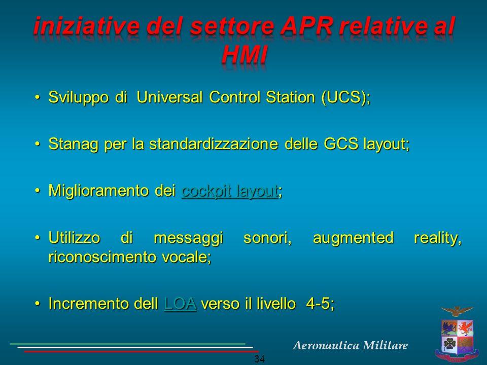 Aeronautica Militare 34 Sviluppo di Universal Control Station (UCS);Sviluppo di Universal Control Station (UCS); Stanag per la standardizzazione delle