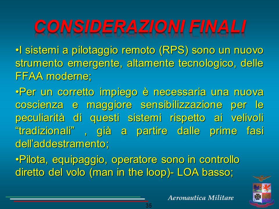 Aeronautica Militare 35 I sistemi a pilotaggio remoto (RPS) sono un nuovo strumento emergente, altamente tecnologico, delle FFAA moderne;I sistemi a p