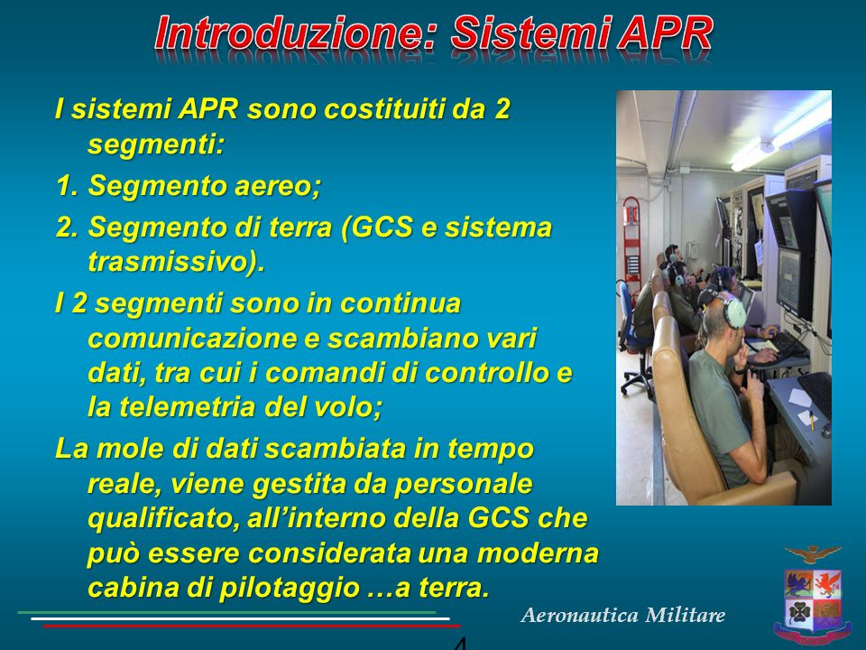 Aeronautica Militare 4 I sistemi APR sono costituiti da 2 segmenti: 1.Segmento aereo; 2.Segmento di terra (GCS e sistema trasmissivo). I 2 segmenti so