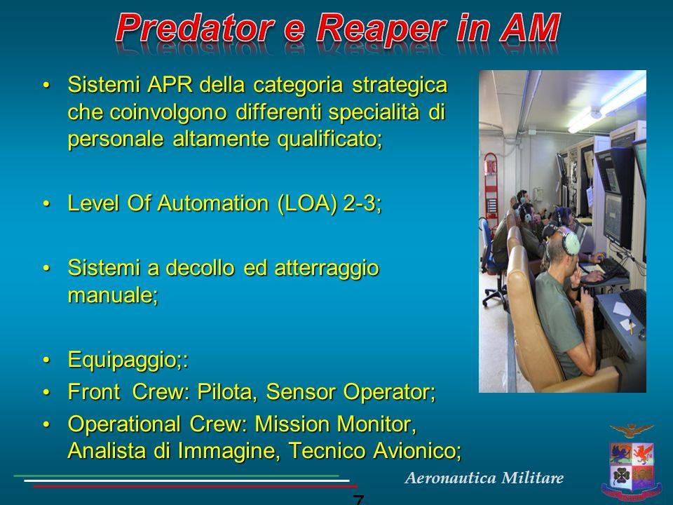Aeronautica Militare PREDATOR A+PREDATOR BFACTOR GTOW2,500 lbs / 1136 Kg10,500 lbs / 4773 Kg4.6 Power105 HP / 78.3 KW900 HP / 671 KW8.6 Max Altitude25,000 ft / 8300 m50,000 / 16600 m2 Max Speed120 KTAS240 KTAS2 Fuel600 lbs / 273 Kg4,000 lbs / 1818 Kg6.6 Payload Nose450 lbs / 204.5 Kg850 lbs / 386 Kg1.8 Payload Wing250 lbs / 114 Kg3,000 lbs / 1364 Kg12 Endurance40 hr30+ hr0.75 Predator A (RQ-1C) Predator B (MQ-9A)