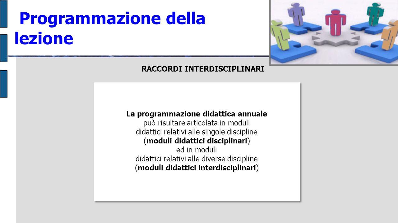 RACCORDI INTERDISCIPLINARI Programmazione della lezione La programmazione didattica annuale può risultare articolata in moduli didattici relativi alle