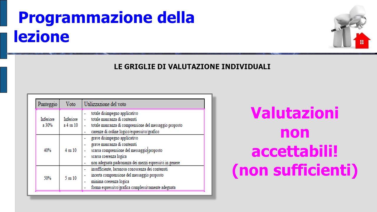 LE GRIGLIE DI VALUTAZIONE INDIVIDUALI Programmazione della lezione Valutazioni non accettabili.