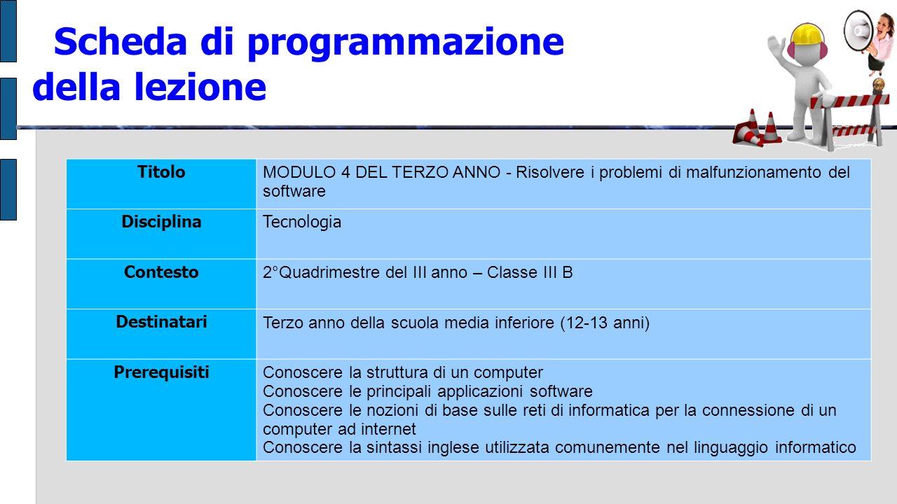 Scheda di programmazione della lezione Titolo MODULO 4 DEL TERZO ANNO - Risolvere i problemi di malfunzionamento del software DisciplinaTecnologia Con