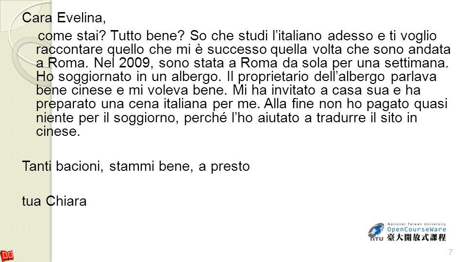 Cara Francesca, come va.