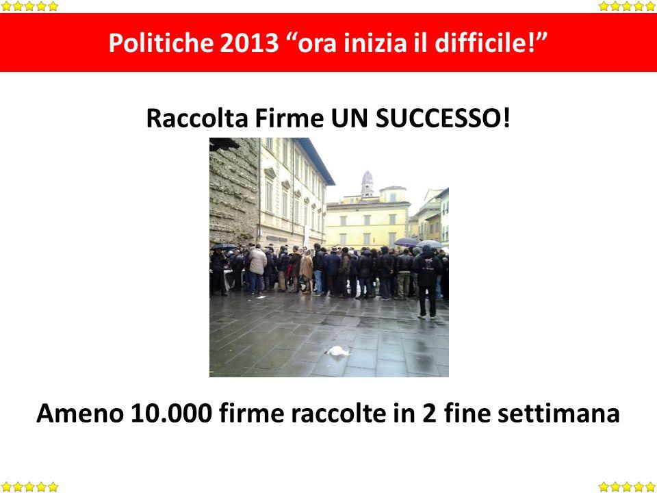 Politiche 2013 ora inizia il difficile. Raccolta Firme UN SUCCESSO.