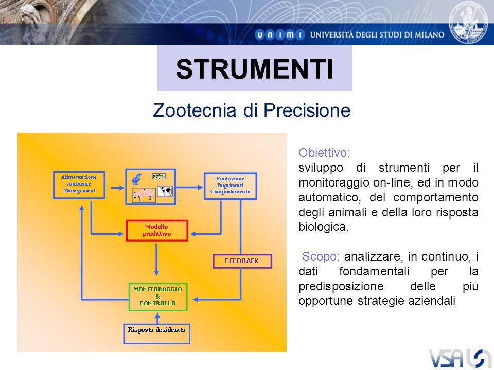 STRUMENTI Zootecnia di Precisione Obiettivo: sviluppo di strumenti per il monitoraggio on-line, ed in modo automatico, del comportamento degli animali e della loro risposta biologica.