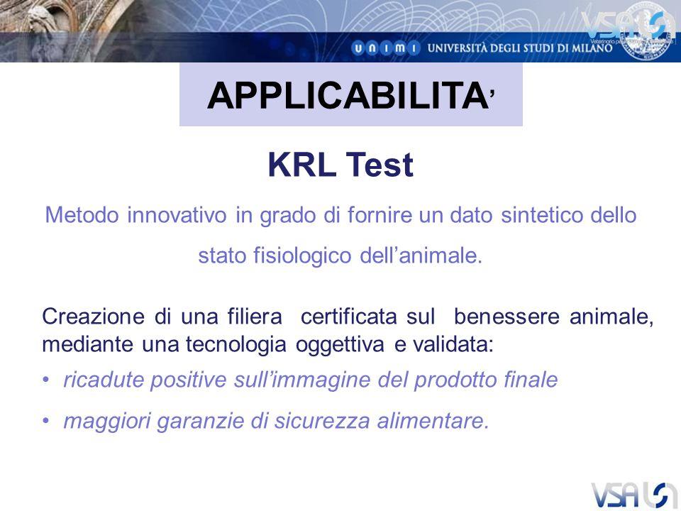 APPLICABILITA KRL Test Metodo innovativo in grado di fornire un dato sintetico dello stato fisiologico dellanimale.