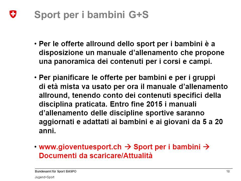 18 Bundesamt für Sport BASPO Jugend+Sport Sport per i bambini G+S Per le offerte allround dello sport per i bambini è a disposizione un manuale dallenamento che propone una panoramica dei contenuti per i corsi e campi.
