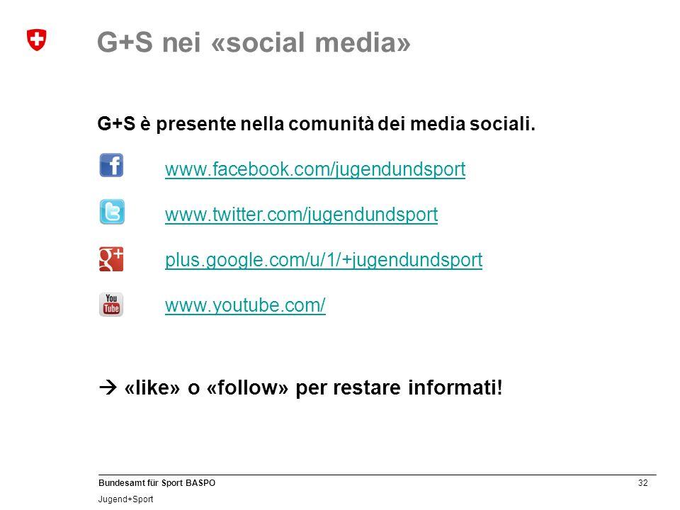 32 Bundesamt für Sport BASPO Jugend+Sport G+S è presente nella comunità dei media sociali.