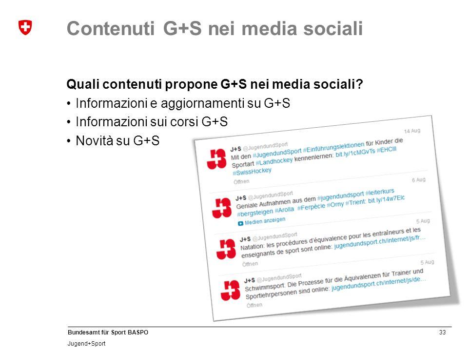 33 Bundesamt für Sport BASPO Jugend+Sport Quali contenuti propone G+S nei media sociali.