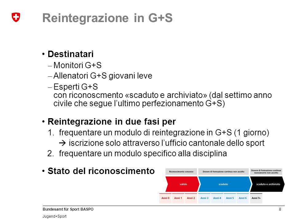 8 Bundesamt für Sport BASPO Jugend+Sport Reintegrazione in G+S Destinatari Monitori G+S Allenatori G+S giovani leve Esperti G+S con riconoscmento «scaduto e archiviato» (dal settimo anno civile che segue lultimo perfezionamento G+S) Reintegrazione in due fasi per 1.