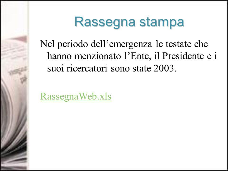 Rassegna stampa Nel periodo dellemergenza le testate che hanno menzionato lEnte, il Presidente e i suoi ricercatori sono state 2003.