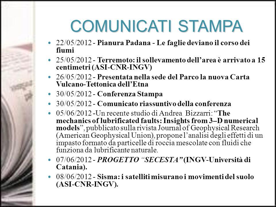 COMUNICATI STAMPA 22/05/2012 - Pianura Padana - Le faglie deviano il corso dei fiumi 25/05/2012 - Terremoto: il sollevamento dellarea è arrivato a 15 centimetri (ASI-CNR-INGV) 26/05/2012 - Presentata nella sede del Parco la nuova Carta Vulcano-Tettonica dellEtna 30/05/2012 - Conferenza Stampa 30/05/2012 - Comunicato riassuntivo della conferenza 05/06/2012 -Un recente studio di Andrea Bizzarri: The mechanics of lubrificated faults: Insights from 3–D numerical models, pubblicato sulla rivista Journal of Geophysical Research (American Geophysical Union), propone lanalisi degli effetti di un impasto formato da particelle di roccia mescolate con fluidi che funziona da lubrificante naturale.