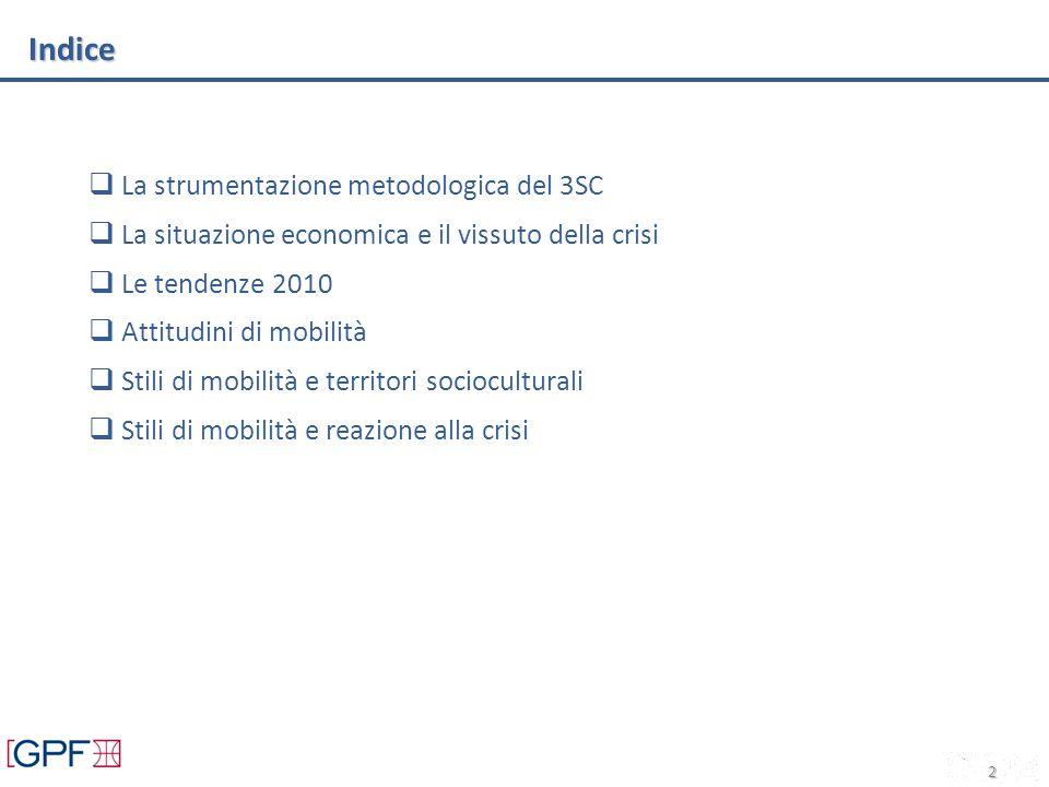 Indice La strumentazione metodologica del 3SC La situazione economica e il vissuto della crisi Le tendenze 2010 Attitudini di mobilità Stili di mobilità e territori socioculturali Stili di mobilità e reazione alla crisi 2