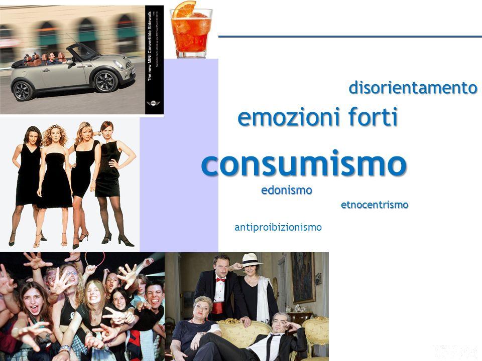 emozioni forti MODERNITÀ AFFLUENTE disorientamento edonismo etnocentrismo antiproibizionismo consumismo