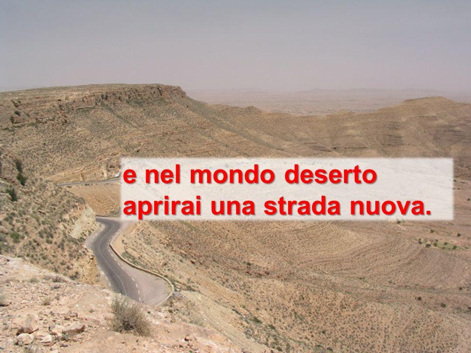 e nel mondo deserto aprirai una strada nuova.