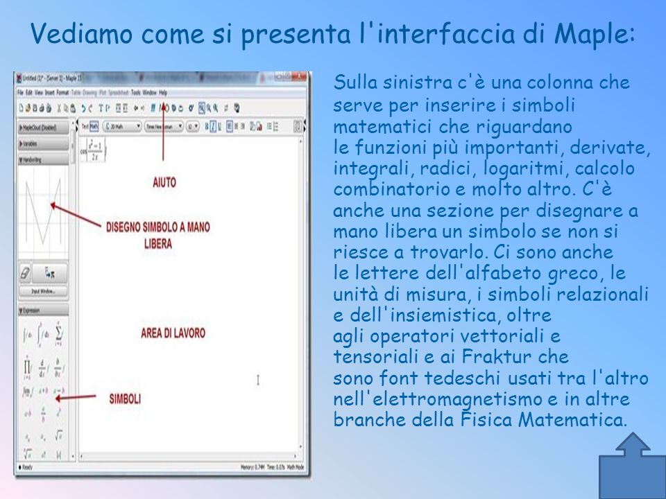 Vediamo come si presenta l'interfaccia di Maple: Sulla sinistra c'è una colonna che serve per inserire i simboli matematici che riguardano le funzioni