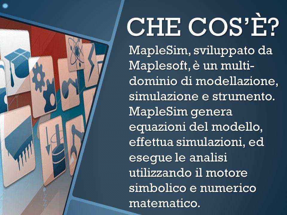 CHE COSÈ? MapleSim, sviluppato da Maplesoft, è un multi- dominio di modellazione, simulazione e strumento. MapleSim genera equazioni del modello, effe