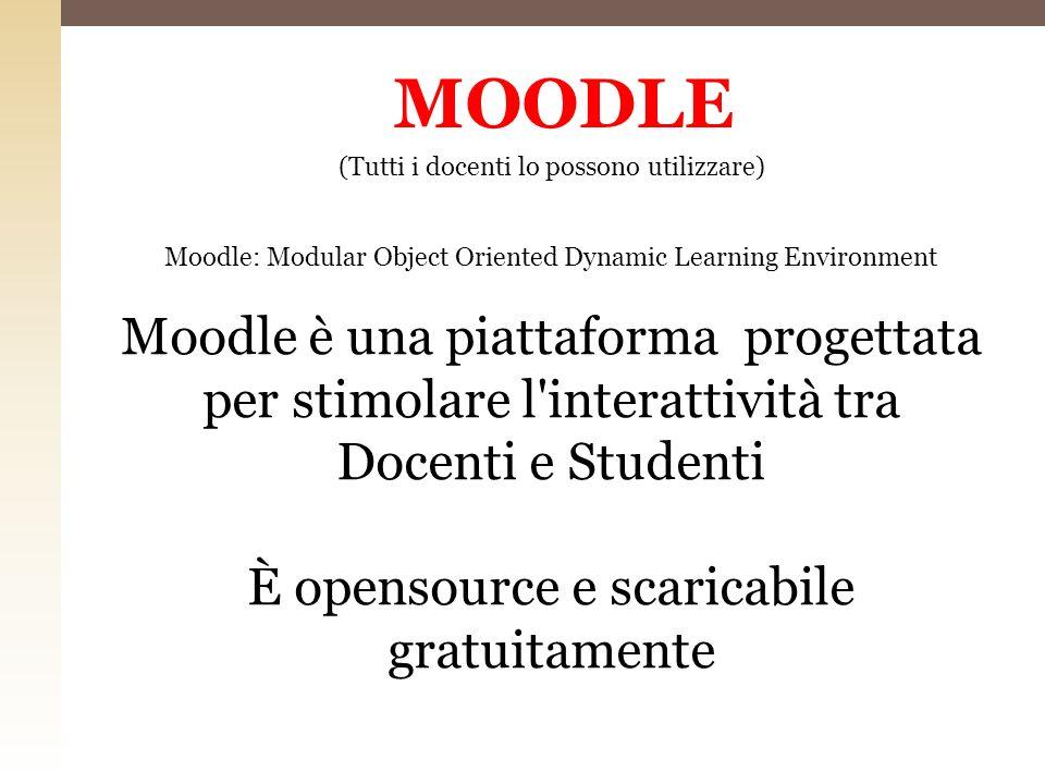 MOODLE (Tutti i docenti lo possono utilizzare) Moodle: Modular Object Oriented Dynamic Learning Environment Moodle è una piattaforma progettata per st