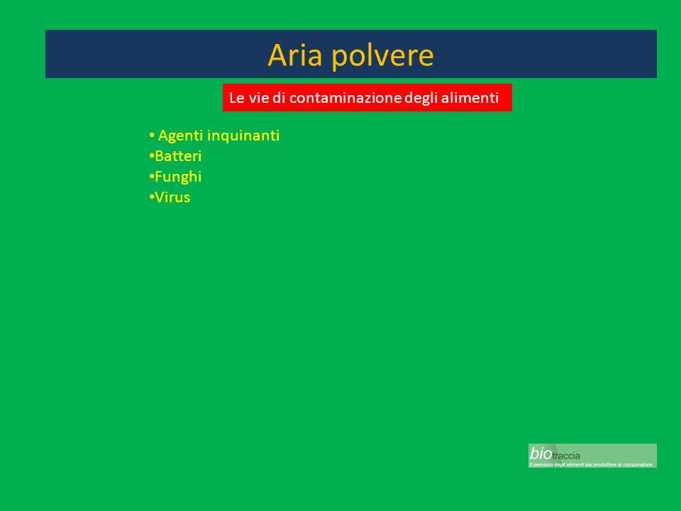 Aria polvere Agenti inquinanti Batteri Funghi Virus Le vie di contaminazione degli alimenti