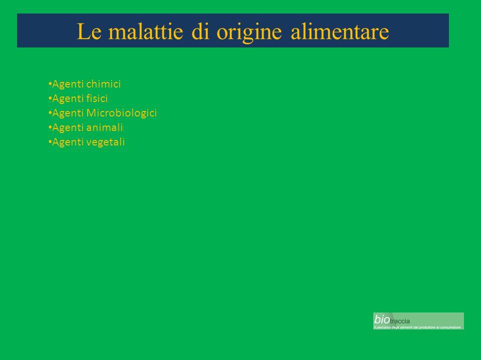 Le malattie di origine alimentare Agenti chimici Agenti fisici Agenti Microbiologici Agenti animali Agenti vegetali