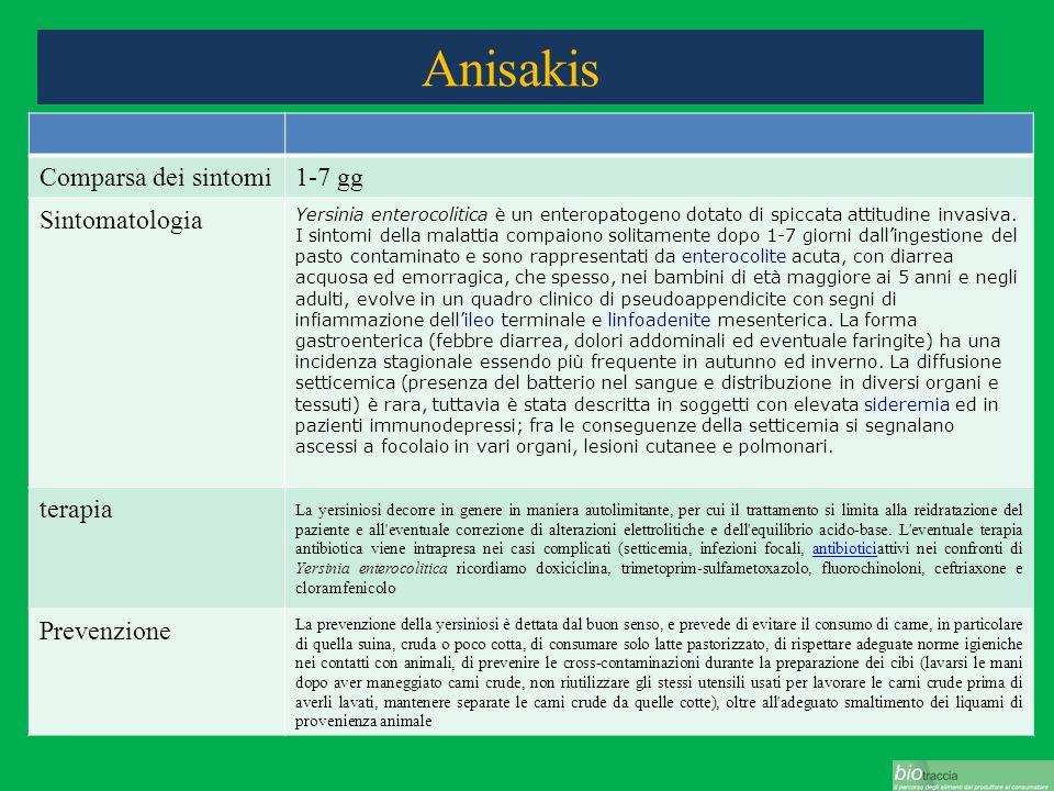 Anisakis Comparsa dei sintomi1-7 gg Sintomatologia Yersinia enterocolitica è un enteropatogeno dotato di spiccata attitudine invasiva. I sintomi della